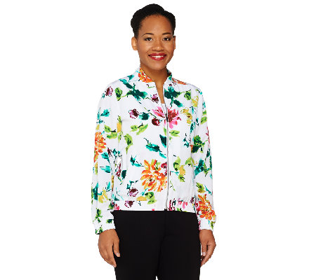 """As Is"" Susan Graver Printed Peachskin Zip Front Bomber Jacket"