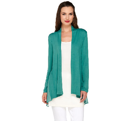 """As Is"" LOGO by Lori Goldstein Open Front Knit Cardigan with Chiffon Details"