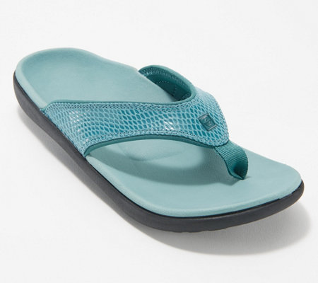Spenco Snake Print Orthotic Thong Sandals - Yumi