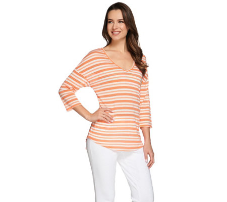 C. Wonder 3/4 Sleeve V-neck Knit Top with Novelty Stripe