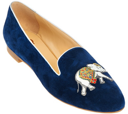 C. Wonder Elephant Embroidered Suede Loafers - Carly