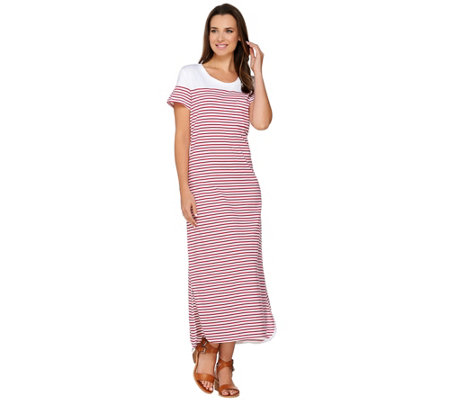 C. Wonder Striped Short Sleeve Knit Midi Dress w/ Curved Hem