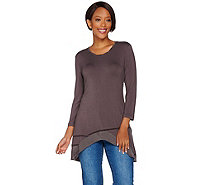 LOGO by Lori Goldstein Twisted Charmeuse Neck Knit Top & Trim - A276605