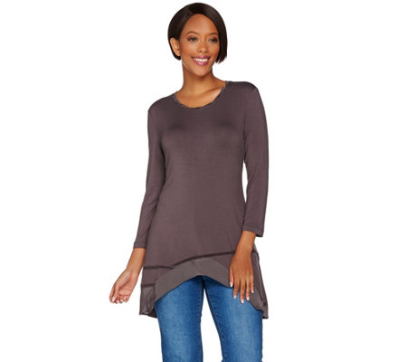 LOGO by Lori Goldstein Twisted Charmeuse Neck Knit Top & Trim