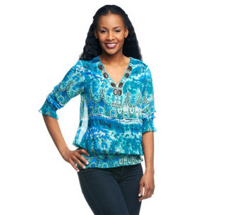 """As Is"" M by Marc Bouwer Printed Blouse with Beaded Neckline - A276705"
