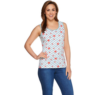 Denim & Co. Star Printed Scoop Neck Tank with Solid Binding