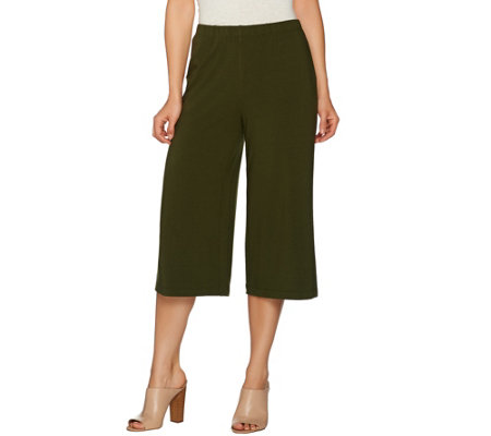 Susan Graver Weekend Stretch Cotton Modal Comfort Waist Gaucho Pants