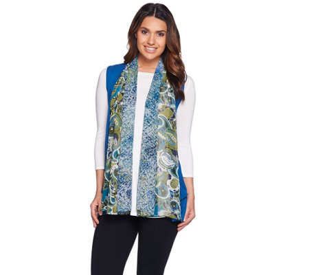 LOGO by Lori Goldstein Knit Vest with Printed Chiffon Trim
