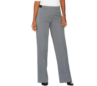 H by Halston Studio Stretch Regular Full Length Wide Leg Pants - A280405