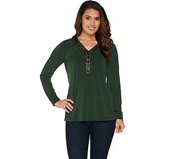 Susan Graver Artisan Embellished Liquid Knit Top - A282105