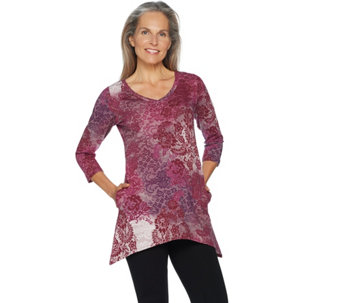 LOGO Lounge by Lori Goldstein French Terry Printed Top w/ Asymmetric Hem - A282805