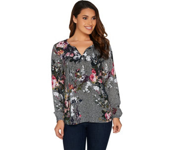 Kelly by Clinton Kelly Split V-Neck Printed Long Sleeve Top - A283505