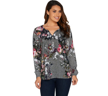Kelly by Clinton Kelly Split V-Neck Printed Long Sleeve Top