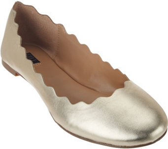 """As Is"" G.I.L.I Scalloped Leather Ballet Flats - Izzy - A283605"
