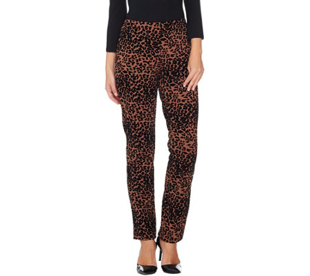 Women with Control Petite Leopard Flocked Ponte Knit Slim Leg Pants