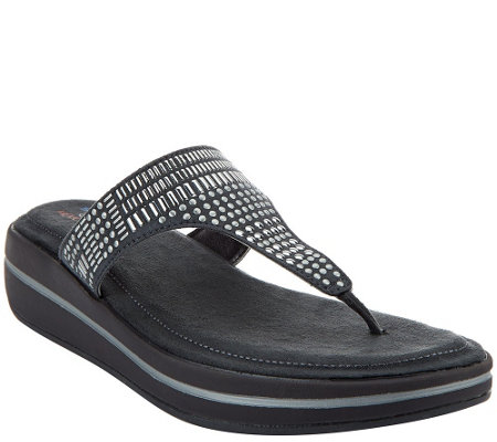 """As Is"" Skechers Studded Thong Sandals w/ Memory Foam"