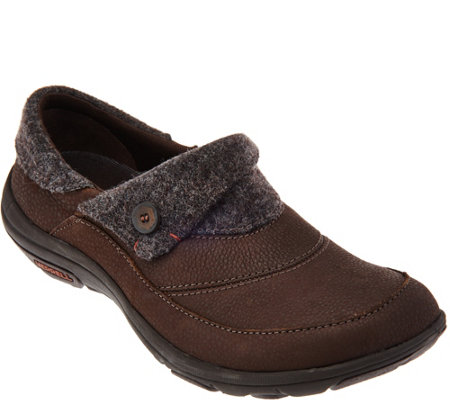 Merrell Leather and Textile Slip-on Shoes - Dassie Fold Moc