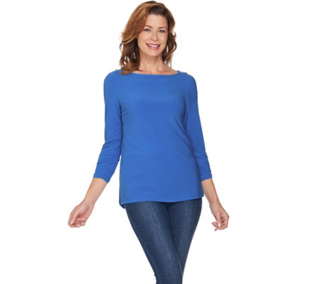 Susan Graver Textured Liquid Knit Top with Button Trim