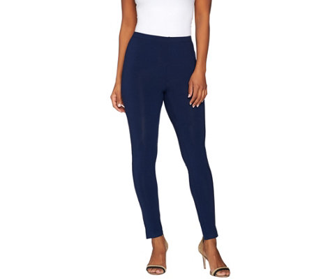 """As Is"" Susan Graver Weekend Cotton Modal Leggings with Side Slits"