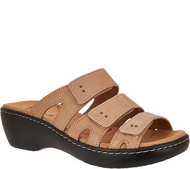 Clarks Leather Triple Adjust Slide Sandals - Delana Damir - A288105