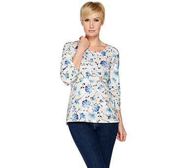Denim & Co 3/4 Sleeve Floral Print Perfect Jersey Scoop Neck Top - A288305