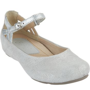 Earthies Suede Flats with Ankle Strap - Capri