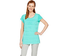 Isaac Mizrahi Live! Chiffon Scallop Front Top with Knit Back - A289605