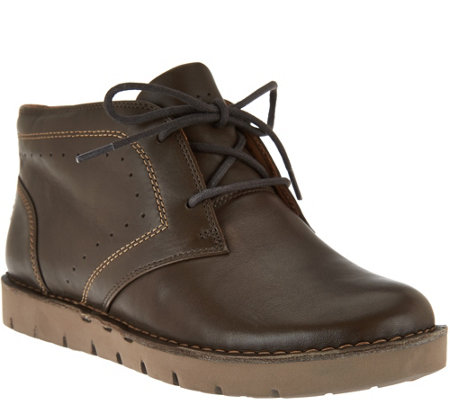 """As Is"" Clarks Unstructured Leather Lace- Up Boots - Un.Austin"