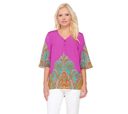 """As Is"" Isaac Mizrahi Live! Engineered Paisley Print Top"