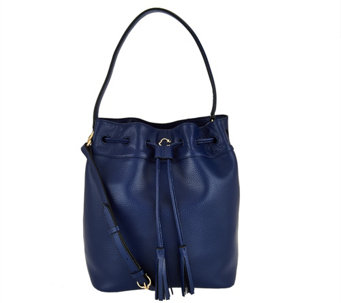 """As Is"" C. Wonder Pebble Leather Drawstring Bucket Handbag - A291605"