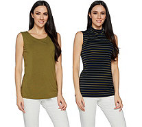 Susan Graver Weekend Solid & Striped Cotton Modal Set of 2 Tops - A292305