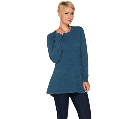 """As Is"" Isaac Mizrahi Live! 2-Ply Cashmere Peplum Tunic Sweater"