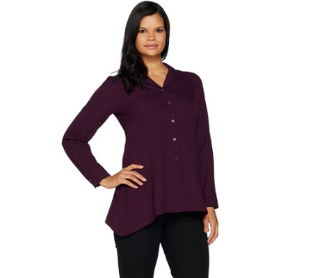 Linea by Louis Dell'Olio Wing Collar Blouse w/ Swing Hem