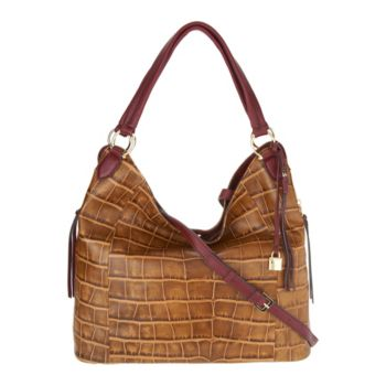 G.I.L.I. Croco Embossed Italian Leather Slouchy Wing Hobo