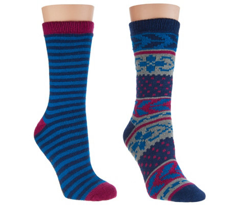 MUK LUKS Cozy-Lined Socks Set of 2