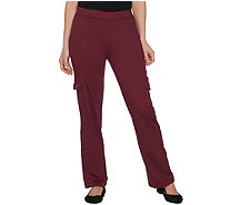 Quacker Factory Pull-On Knit Cargo Pants with Grommets - A299505