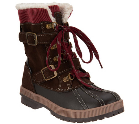 Khombu Waterproof Double Buckle Lace-up Boots - Shirley