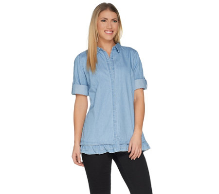 Joan Rivers Lightweight Denim Shirt with Ruffle Hem