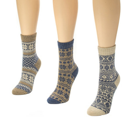 MUK LUKS Women's 3-Pair Holiday Crew Socks