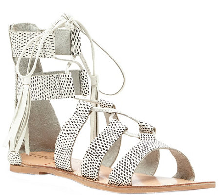 Sole Society Lace-up Gladiator Leather Sandals- Calla