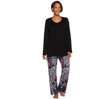 Carole Hochman Abstract Hydrangea Rayon Spandex 3 Pc Pajama Set - A08906