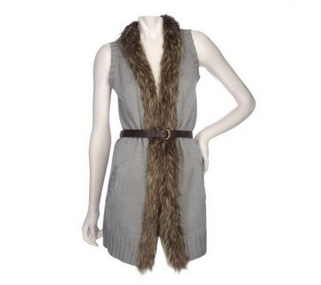 K-DASH by Kardashian Sweater Vest with Faux Fur & Removable Belt