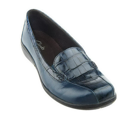 """As Is"" Clarks Bendables Leather Croco Embossed Slip-on Loafers"