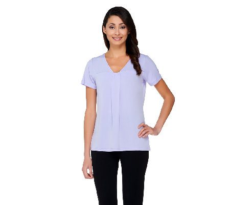 Susan Graver Liquid Knit Shirred V-neck Short Sleeve Top