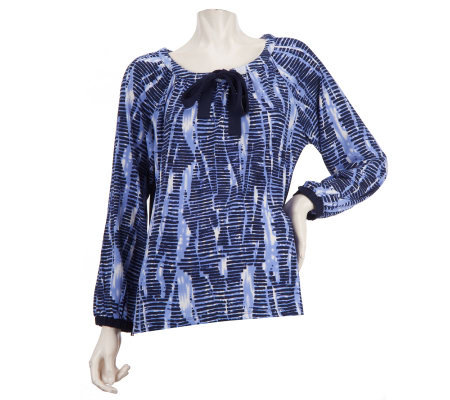 Linea by Louis Dell'Olio Printed Peasant Top with Bow Detail