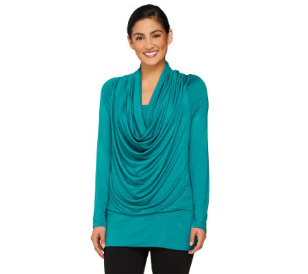 Attitudes by Renee Cowl Neck Slub Knit Top w/Banded Hem