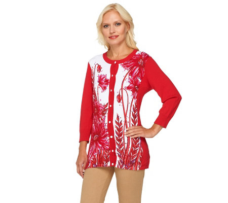 Bob Mackie's Poppy Print and Solid 3/4 Sleeve Cardigan