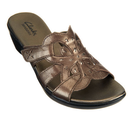 Clarks Bendables Ella Art Leather Slide Sandals