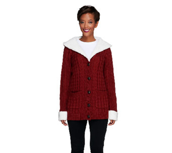 Denim & Co. Button Front Sweater Coat with Sherpa Trim - A235306