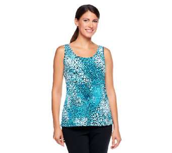 Carol Wior Printed Tank with Inner Control Lining - A236006